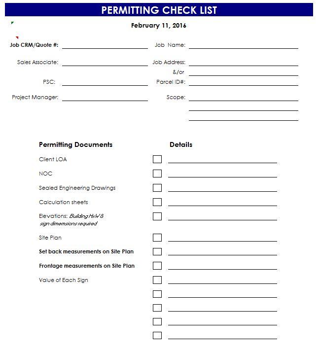 Permit Checklist